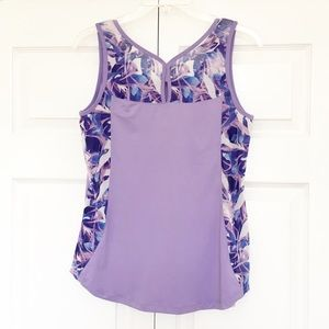 Adrienne Vittadini | Purple Printed Athletic Tank
